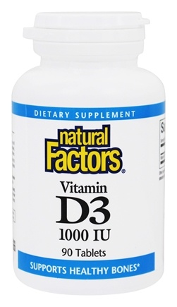 DROPPED: Natural Factors - Vitamin D3 1000 IU - 90 Tablets CLEARANCE PRICED