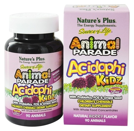 Nature's Plus - Animal Parade AcidophiKidz Berry Flavor - 90 Chewable Tablets