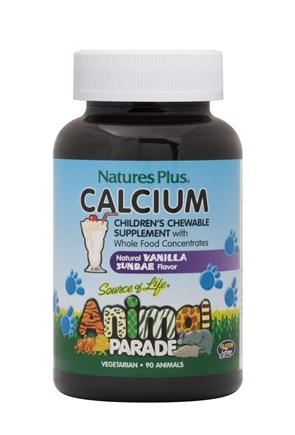 Nature's Plus - Animal Parade Calcium Natural Vanilla Sundae Flavor - 90 Chewable Tablets