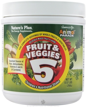 DROPPED: Nature's Plus - Animal Parade Fruit & Veggies 5 Children's Nutritional Shake - 0.57 lbs. CLEARANCED PRICED