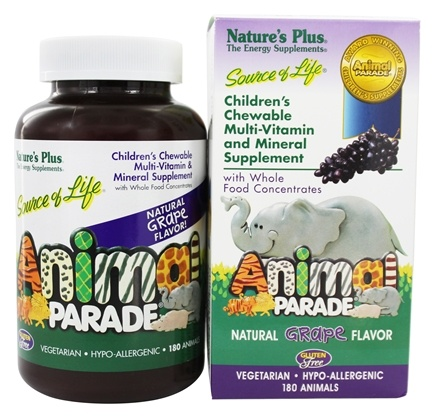 Nature's Plus - Animal Parade Children's Chewable Multi Grape - 180 Chewable Tablets