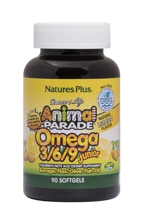 Nature's Plus - Animal Parade Junior Omega 3-6-9 Lemon Flavor - 90 Softgels
