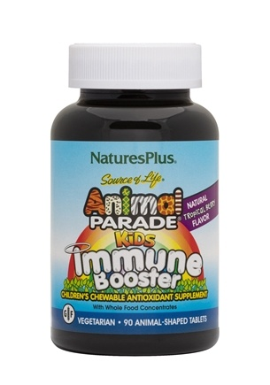 Nature's Plus - Animal Parade Kids Chewable Immune Booster Tropical Berry Flavor - 90 Chewable Tablets