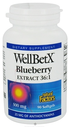DROPPED: Natural Factors - WellBetX Blueberry Extract 36:1 500 mg. - 90 Softgels CLEARANCE PRICED