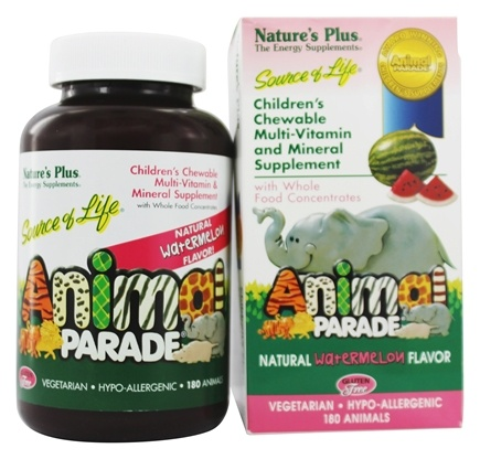 Nature's Plus - Animal Parade Children's Chewable Multi Watermelon - 180 Chewable Tablets