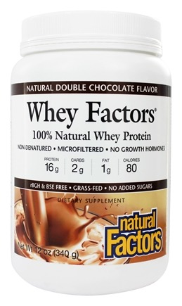 Natural Factors - Whey Factors 100% Natural Whey Protein Double Chocolate - 12 oz.