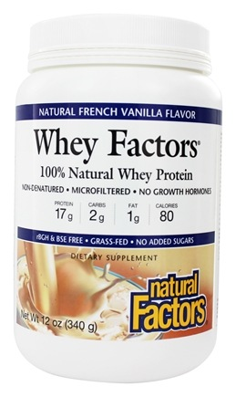 Natural Factors - Whey Factors 100% Natural Whey Protein French Vanilla - 12 oz.