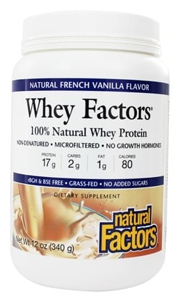 DROPPED: Natural Factors - Whey Factors 100% Natural Whey Protein French Vanilla - 12 oz.