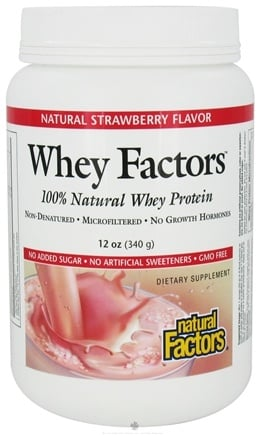 DROPPED: Natural Factors - Whey Factors 100% Natural Whey Protein Very Strawberry - 12 oz. CLEARANCE PRICED