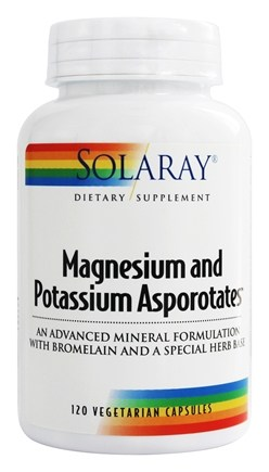 Solaray - Magnesium And Potassium Asporotates - 120 Vegetarian Capsules