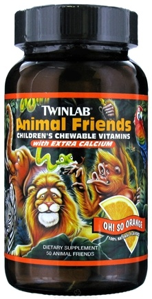 DROPPED: Twinlab - Animal Friends Children's Chewable Multi-Vitamins Oh So Orange - 50 Chewable Tablets CLEARANCE PRICED