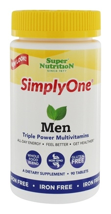 Super Nutrition - Simply One Men Power Vitamins Iron Free - 90 Vegetarian Tablets