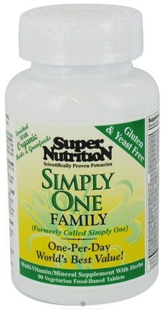 DROPPED: Super Nutrition - Simply One Family - 90 Vegetarian Tablets (formerly Simple One) CLEARANCE PRICED