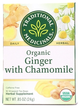 Traditional Medicinals - Organic Ginger with Chamomile Tea - 16 Tea Bags Formerly Golden Ginger Tea