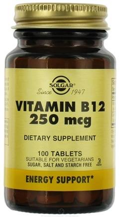 DROPPED: Solgar - Vitamin B-12 250 mcg. - 100 Tablets