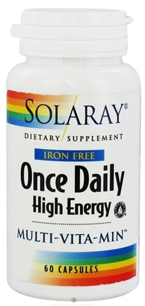DROPPED: Solaray - Once Daily High Energy Multi-Vita-Min Iron-Free - 60 Vegetarian Capsules CLEARANCE PRICED