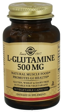 DROPPED: Solgar - L-Glutamine 500 mg. - 50 Vegetarian Capsules CLEARANCE PRICED