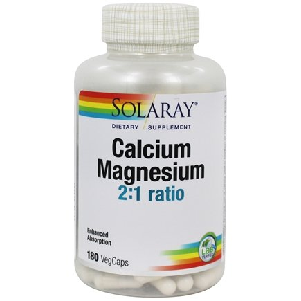 Solaray - Calcium And Magnesium - 180 Vegetarian Capsules