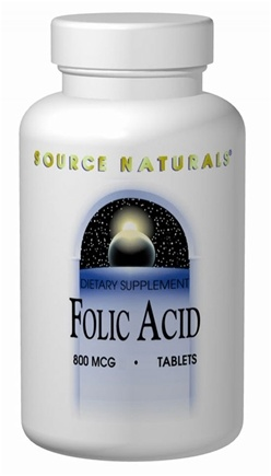 DROPPED: Source Naturals - Folic Acid 800 mcg. - 1000 Tablets