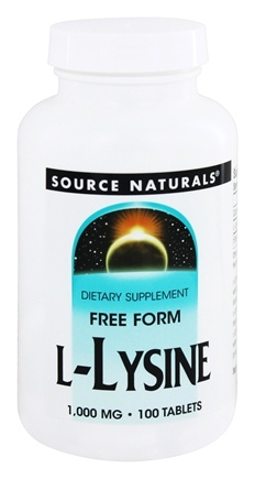 Source Naturals - L-Lysine Free Form 1000 mg. - 100 Tablets