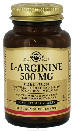 DROPPED: Solgar - L-Arginine Free Form 500 mg. - 50 Vegetarian Capsules CLEARANCE PRICED