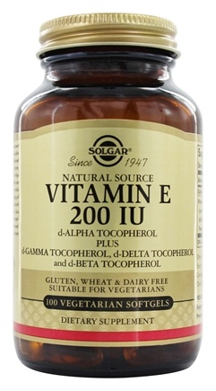 Solgar - Vitamin E d-Alpha Tocopherol 200 IU - 100 Vegetarian Softgels