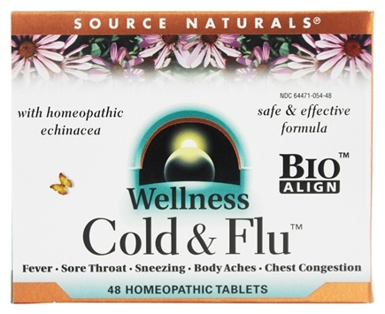 Source Naturals - Wellness Cold & Flu With Homeopathic Echinacea - 48 Tablets