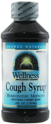 DROPPED: Source Naturals - Wellness Cough Syrup With Wild Cherry Bark - 4 oz. CLEARANCED PRICED