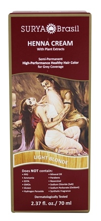 Surya Brasil - Henna Cream Hair Coloring with Organic Extracts Light Blonde - 2.31 oz.