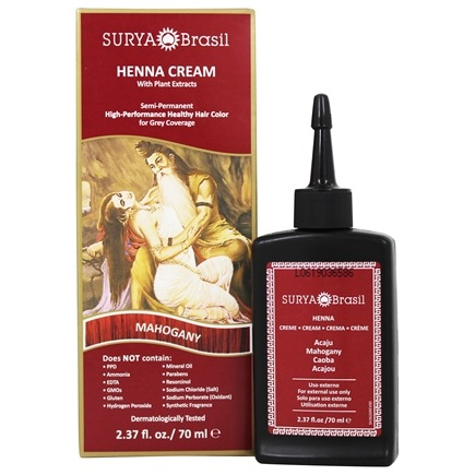 Surya Brasil - Henna Cream Hair Coloring with Organic Extracts Mahogany - 2.31 oz.
