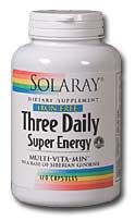 DROPPED: Solaray - Three Daily Super Energy Iron-Free - 120 Capsules