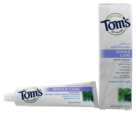 Tom's of Maine - Natural Toothpaste Whole Care With Fluoride Peppermint Gel - 4.7 oz.