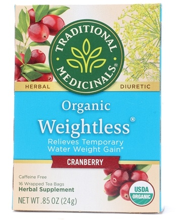 Traditional Medicinals - Organic Weightless Cranberry Herbal Tea Caffeine Free - 16 Tea Bags