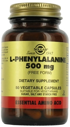 DROPPED: Solgar - L-Phenylalanine 500 mg. - 50 Vegetarian Capsules CLEARANCE PRICED