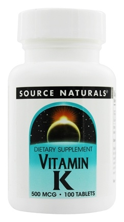 Source Naturals - Vitamin K 500 mcg. - 100 Tablets