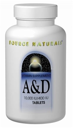 DROPPED: Source Naturals - Vitamin A & D 10,000/400 IU CLEARANCE PRICED - 100 Tablets