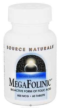 DROPPED: Source Naturals - MegaFolinic 800 mcg. - 60 Tablets CLEARANCE PRICED