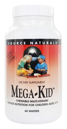 Source Naturals - Mega-Kid Chewable Multi-Vitamin For Children Ages 2-10 Natural Berry - 60 Chewable Wafers