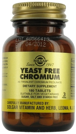 DROPPED: Solgar - Yeast Free Chromium 100 mcg. - 180 Tablets