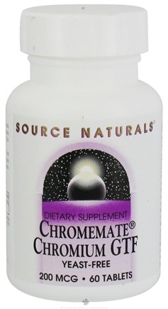 DROPPED: Source Naturals - Chromemate Chromium GTF Yeast-Free 200 mcg. - 60 Tablets CLEARANCE PRICED