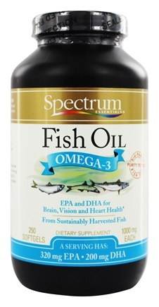 Spectrum Essentials - Fish Oil Omega-3 1000 mg. - 250 Softgels formerly Norwegian Fish Oil