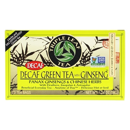 Triple Leaf Tea - Decaf Green Tea with Ginseng & Chinese Herbs - 20 Tea Bags