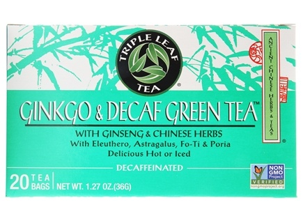 Triple Leaf Tea - Ginkgo & Decaf Green Tea with Ginseng & Chinese Herbs - 20 Tea Bags