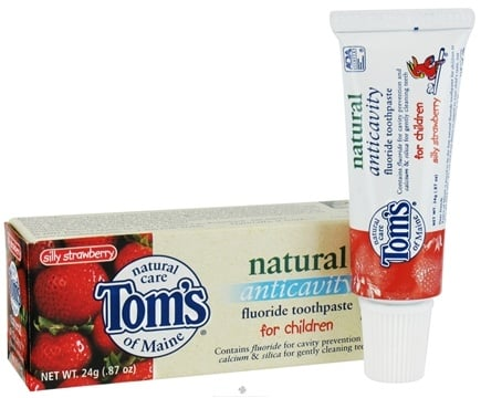DROPPED: Tom's of Maine - Natural Toothpaste Anticavity With Fluoride Children Travel Size Silly Strawberry - 0.87 oz.