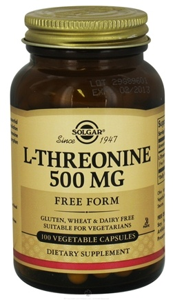 DROPPED: Solgar - L-Threonine Free Form 500 mg. - 100 Vegetarian Capsules