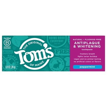Tom's of Maine - Natural Toothpaste Antiplaque & Whitening Fluoride-Free Travel Size Peppermint - 1 oz.