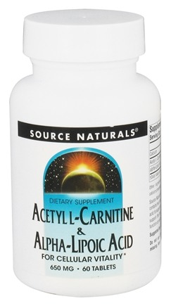 Source Naturals - Acetyl L-Carnitine & Alpha-Lipoic Acid For Cellular Vitality 650 mg. - 60 Tablets
