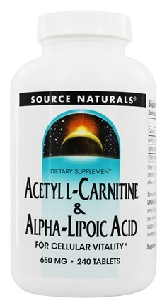 Source Naturals - Acetyl L-Carnitine & Alpha-Lipoic Acid 650 mg. - 240 Tablets