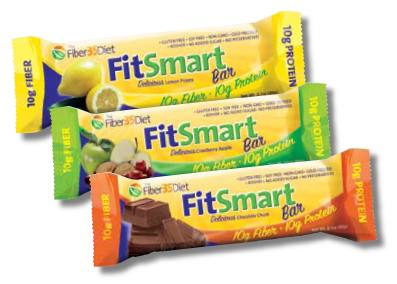 DROPPED: Fiber 35 Diet - FitSmart Protein/Fiber Bars Assortment Pack (4 Lemon Poppy, 4 Cranberry Apple - 12 Bars