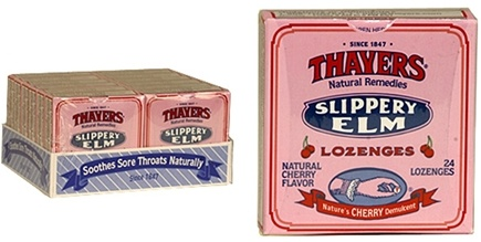 DROPPED: Thayers - Slippery Elm Lozenges Cherry - 24 Lozenges CLEARANCE PRICED